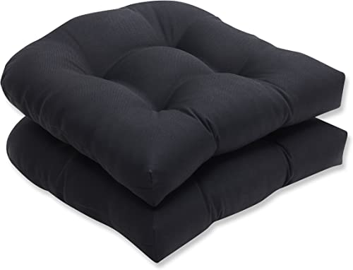 Pillow Perfect Outdoor Indoor Fresco Tufted Seat Cushions Round Back , 19 x 19 , Black, 2 Pack