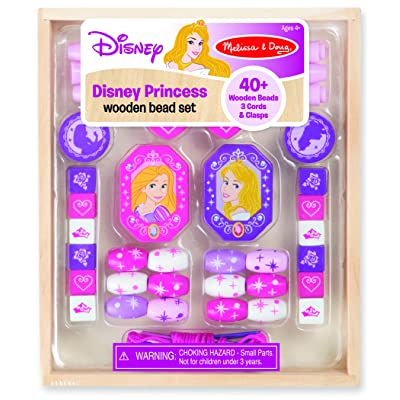 Melissa & Doug Disney Princess Wooden Bead Set With 40+ Beads for Jewelry-Making: Melissa & Doug: Toys & Games