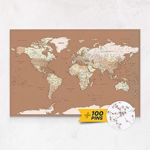 Cartina Mondo Quadro.Trip Map Planisfero Da Parete Mappa Del Mondo Quadro Su Tela Incorniciato Con 100 Puntine Incluse Cartina Geografica Mondo In Beige Marrone 3 Dimensioni Amazon It Handmade