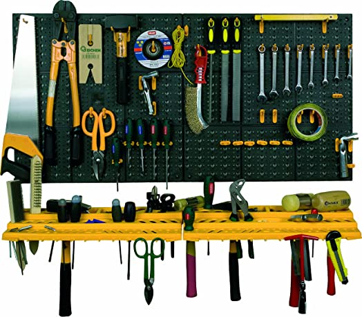 Garage Wall Tool Rack Storage Kit Tools Organizer Home Shelves Including 50 Hooks