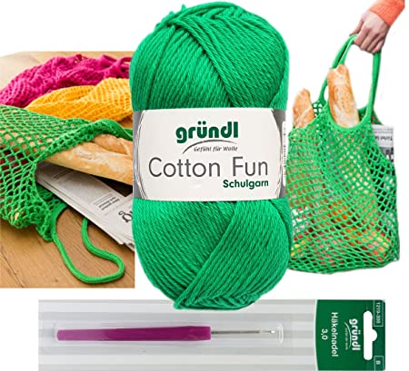 Gründl 4x50 Gramm Cotton Fun Woll Set Sb Pack Inkl Anleitung Für Ein Einkaufsnetz Einkaufstasche Mit Häkelnadel 26 Smaragd