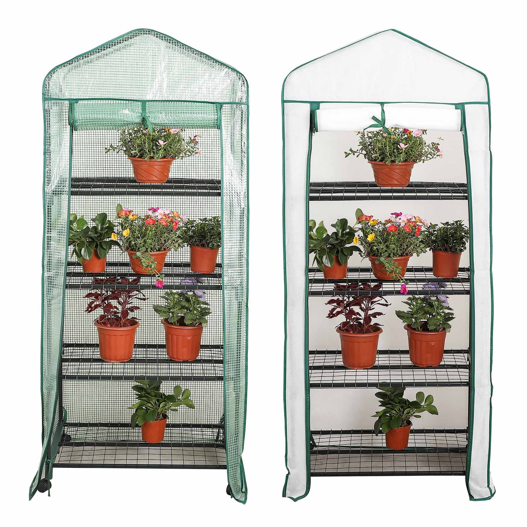 CO-Z 4-Tier Greenhouse Mini Hot House Indoor Green House PE Non-Woven Cover, Waterproof UV Protected Greenhouse Tent on Wheels, 2.3' L x 1.6' W x 5.2' H