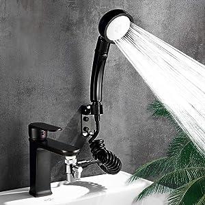 Faucet Sprayer Attachment,Dog Shower Attachment,Sink Sprayer Attachment,(7 Adapters) Fit Faucet in Kitchen,Bathroom,Laundry,Bathtub,ON/OFF Shower Head, Easy Hair Washing,Pet Shower,Baby Bathe(Black)