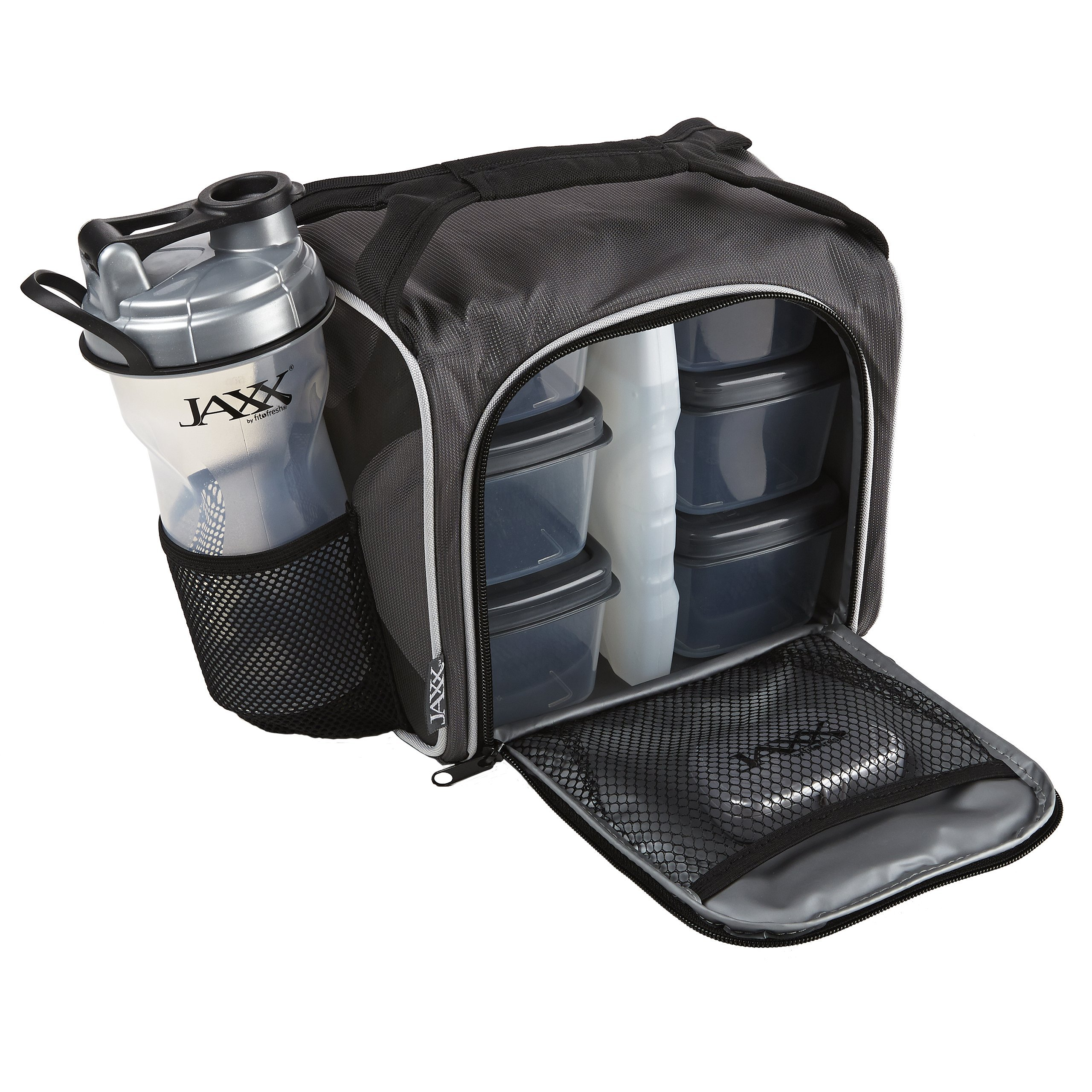 Fit & Fresh Original Jaxx FitPak Insulated Meal Prep Bag with Portion Control Containers, Ice Pack and 28-ounce JAXX Shaker Bottle, Silver by Fit & Fresh