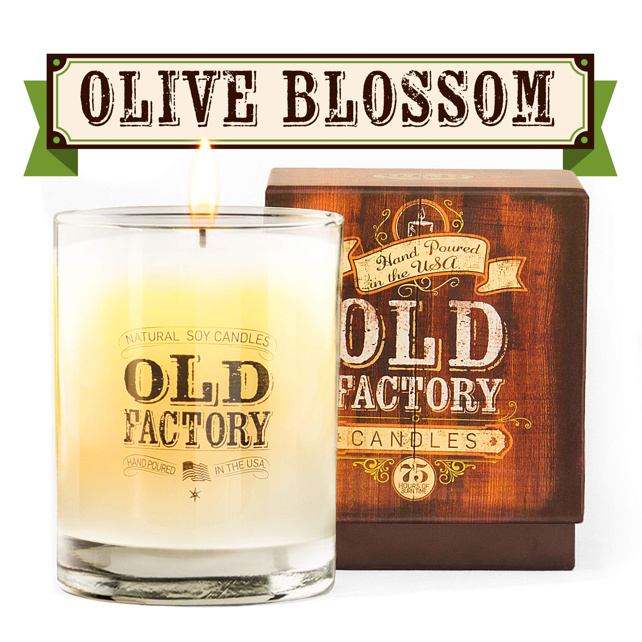 Old Factory Scented Candles - 11-Ounce Soy Candle - Top (Olive Blossom)