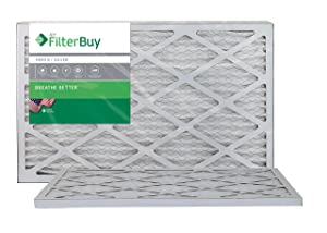 FilterBuy 14x24x1 MERV 8 Pleated AC Furnace Air Filter, (Pack of 2 Filters), 14x24x1 – Silver