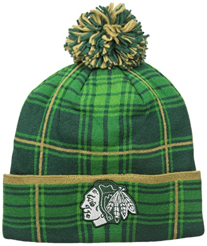 c64a4d3ff5d471 NHL Chicago Blackhawks SP17 St. Patrick's Day Cuffed Knit Headwear with Pom,  Green,