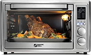 Magic Mill Air Fryer Toaster Oven – 30L Capacity 1800w Smart Rotisserie Convection Oven and Dehydrator With 3 Style Trays – LED Display – Brushed Stainless Steel (Renewed)