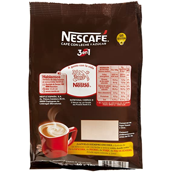 Nescafé 3 en 1 - Café Soluble con Leche y Azúcar - 9 Paquetes de 180 g: Amazon.es: Alimentación y bebidas