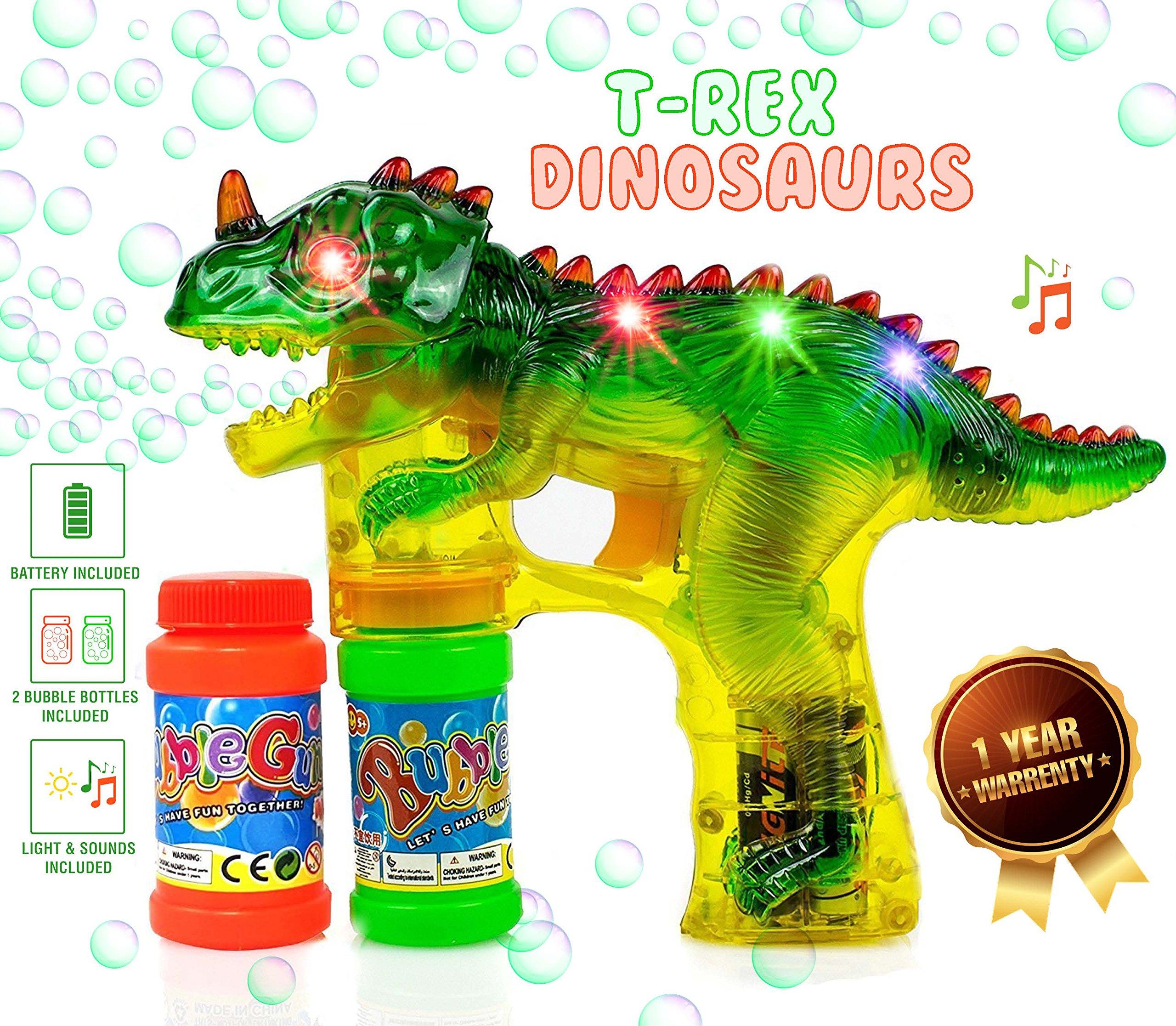 Kiddi Go Jurassic Dinosaur Bubble Shooter Gun Blaster - Light up Blower - LED Flashing Lights - Sound Effect - 2 Bubble Bottles - Batteries Included