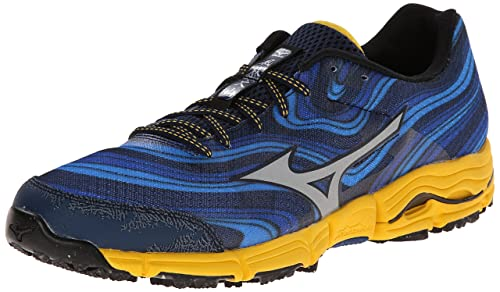 newest efcef e12e4 Mizuno Men s Wave Kazan Trail Running Shoe,Dress Blue Silver,8 ...