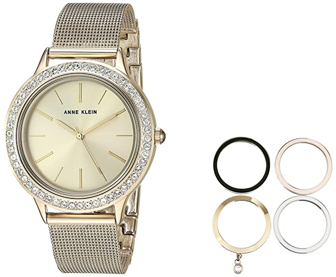 4a8ebc55583 Anne Klein Women s AK 3166GPST Gold-Tone Mesh Bracelet Watch and Interchangeable  Bezel Set
