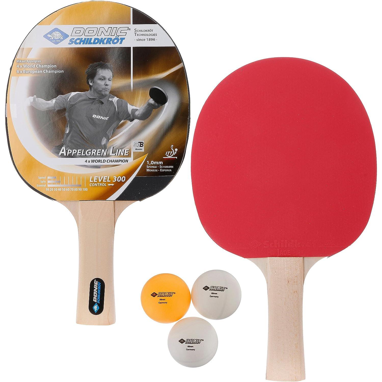 788634 2 Schl/äger 1,0 mm Schwamm, 3 B/älle, im Blister, gute Freizeitqualit/ät Donic-Schildkr/öt Tischtennis-Set Level 300 f/ür 2 Spieler