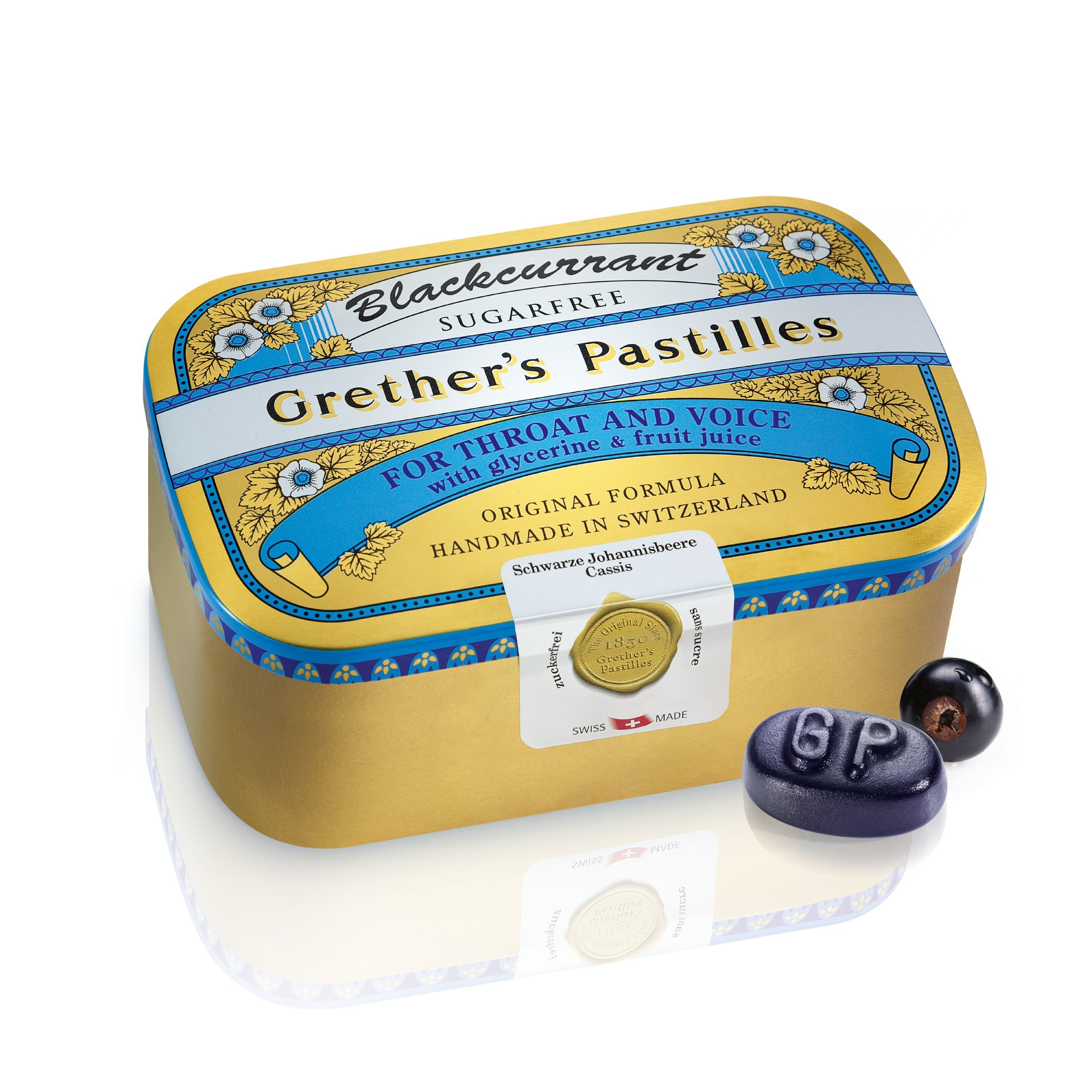 Grether's Blackcurrant Sugarfree Pastilles 15 Ounces / 440 Grams - Handmade in Switzerland by GRETHER'S