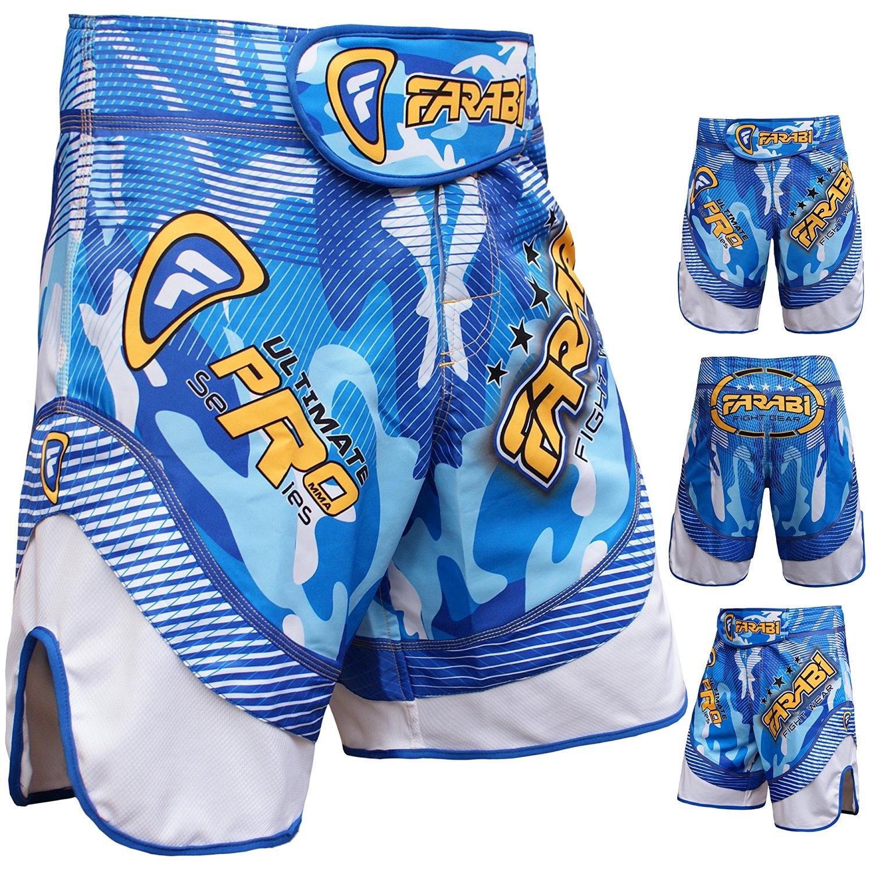 Farabi MMA Shorts Grappling Cage Fight Training Match Kick Boxing Ultimate Pro Series Blue Farabi Sports