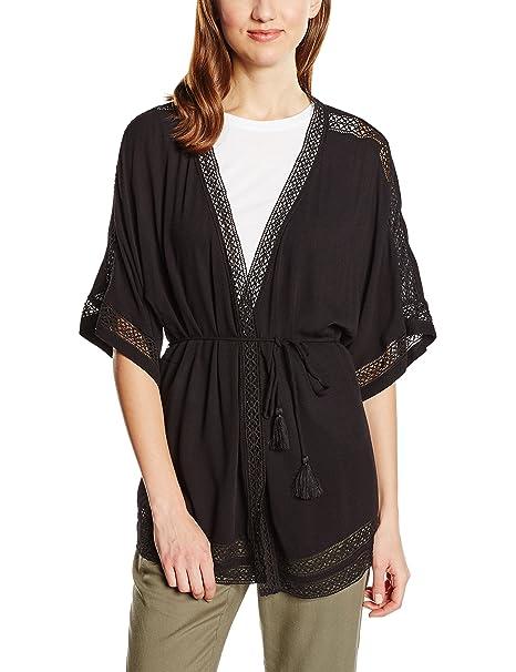Cortefiel Kimono Fluido Lazo, Chaqueta para Mujer, Black L ...
