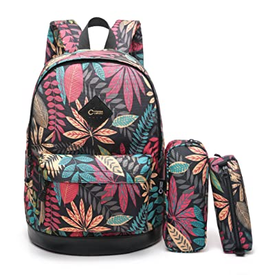 "CrossLandy High School Bookbag Floral Print School Backpack Fits 15"" Laptop: Clothing"