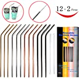12+2 Pcs Reusable Stainless Steel Straws, Metal Straws, 4 Colors Gold, Silver, Rose Gold & Black - 20 oz & 30 oz Tumblers Straws