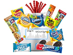 Snack Mountain Care Package Gift Bag - Appreciation, Thank You, Birthday, Graduation,Military, Camp, Employees, Cookies, Candy, Granola Bars
