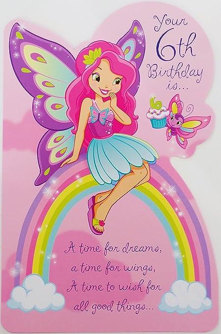 Rosa hada del arco iris feliz 6th Tarjeta de felicitación de ...