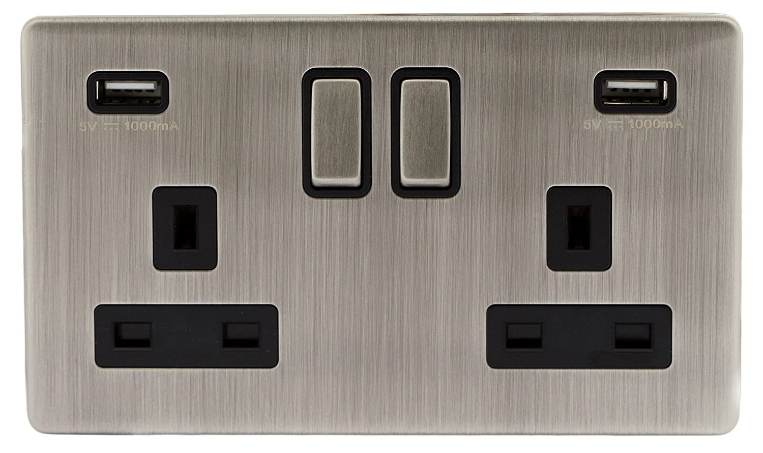 Gloss Brush Chrome Usb Double Wall Plug Socket 2 Gang 13a With Brushed Satin Light Pull Cord Switch Amazoncouk Lighting Charger Port Outlets Plate N410dme Kitchen Home
