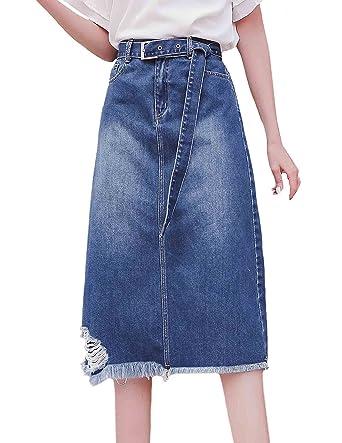 8441c5824bc ZANLICE Women s Plus Size Elastic Waist Button Down A-Line Denim Skirt  Medium
