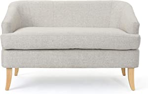 Christopher Knight Home Sheena Mid-Century Modern Fabric Loveseat, Beige / Natural