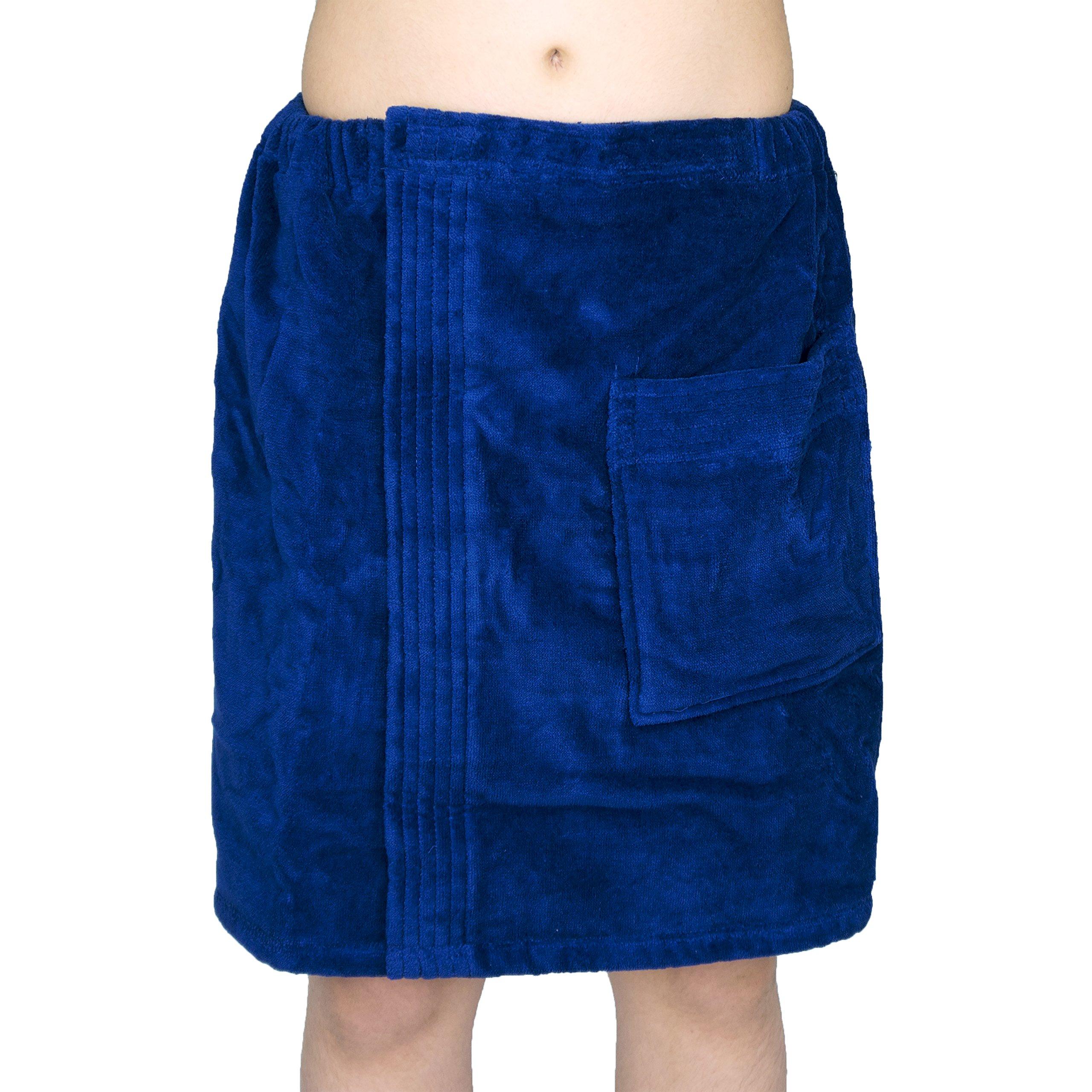 Men's 100% Natural Turkish Cotton Terry Velour Body Wrap Bath Spa Towel (Navy)