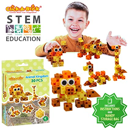 c04cf8588 Click-A-Brick Animal Kingdom 30pc Building Blocks Set | Best STEM Toys for  Boys & Girls Age 4 5 6 Year Old | Fun Kids 3D Construction Puzzle | Top ...