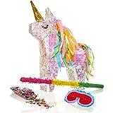 Lumaland Piñata mis à remplir, y Compris 50 cm de bâton, Masque, 50 g de confettis Licorne Magique ca. 40x14x54 cm
