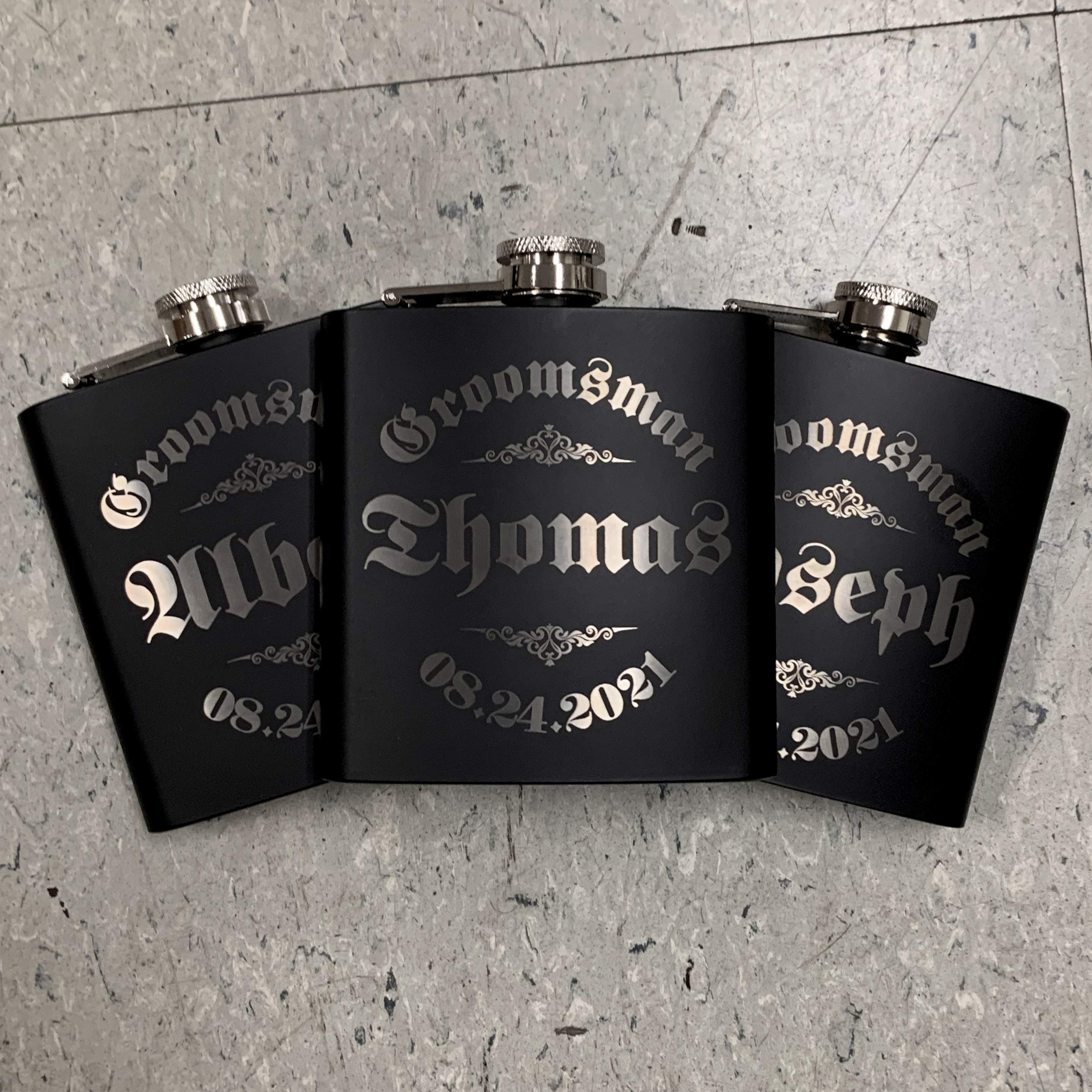 Personalizedgiftland Personalized Flask, Set Of 6 - Customized Flask Groomsmen Gifts For Wedding Favors, Personalized Groomsman gift - Stainless Steel Engraves Flasks w Gift Box Options - 6oz, Black by PersonalizedGiftLand (Image #10)