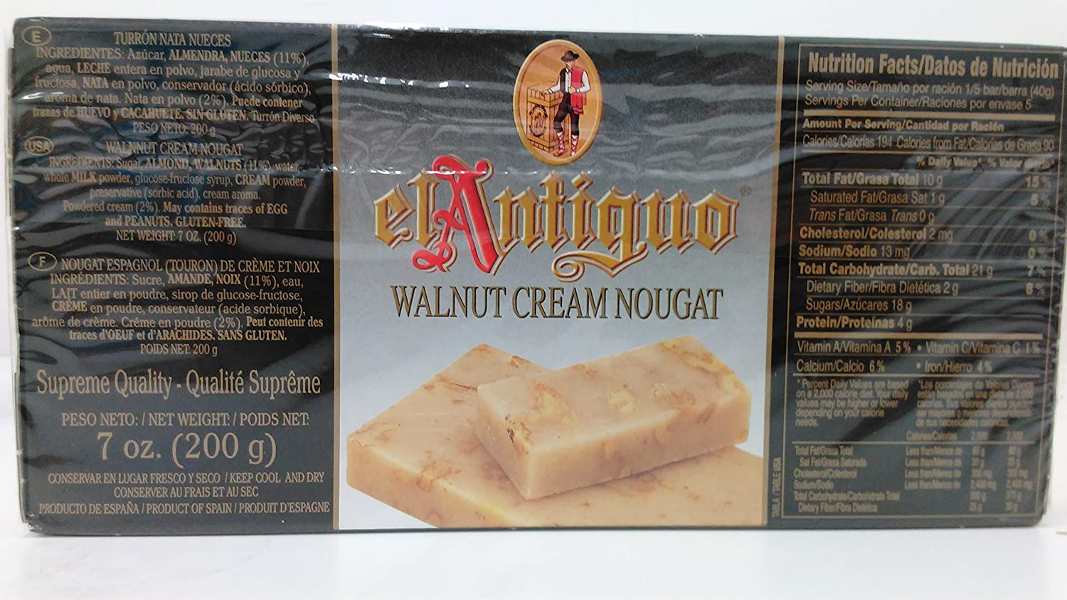 Amazon.com : El Antiguo Calidad Suprema Turron Nata Nueces - Walnut Cream Nougat : Grocery & Gourmet Food
