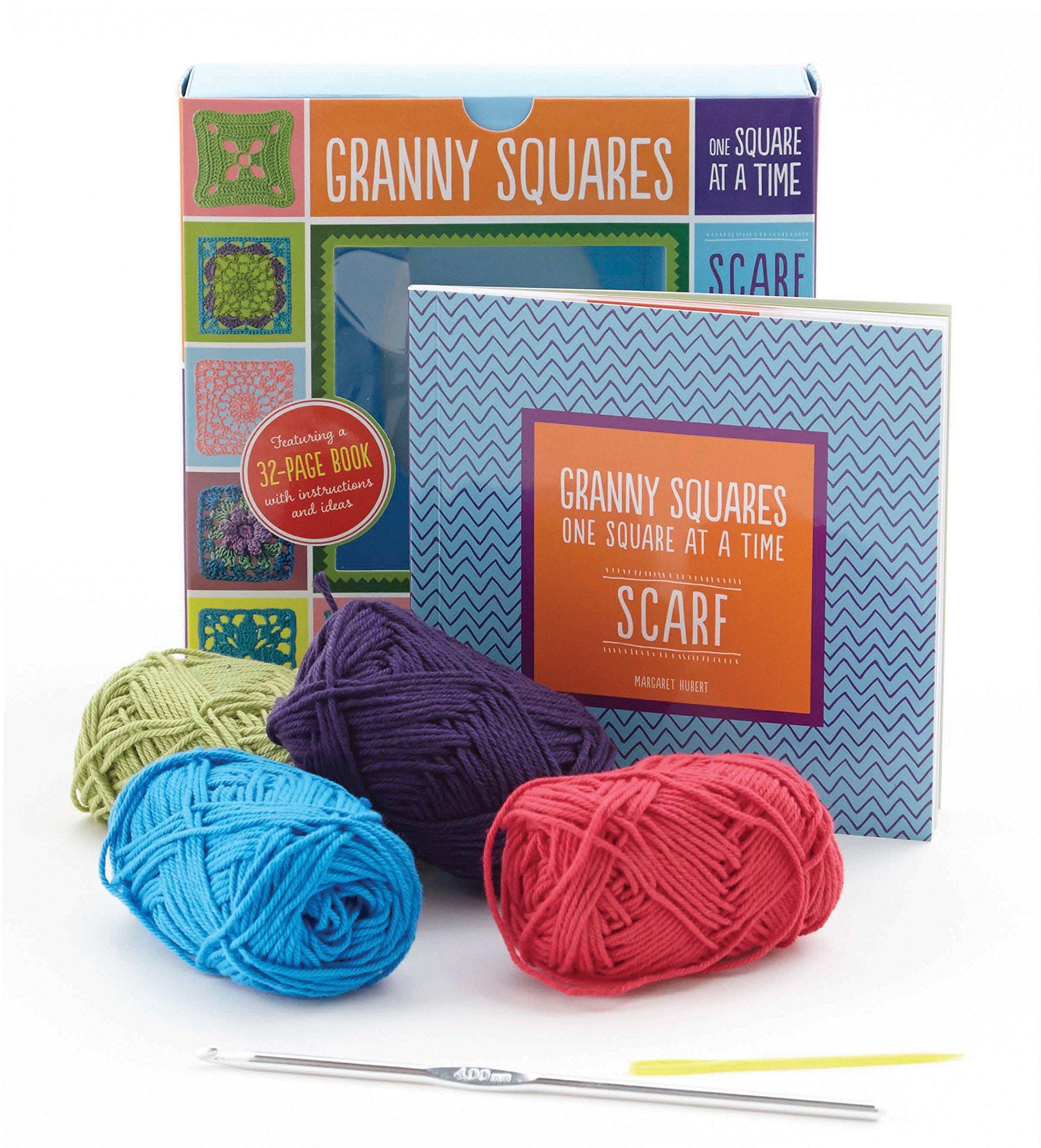 Crochet Beginner Kit Granny Square tutorial and yarn