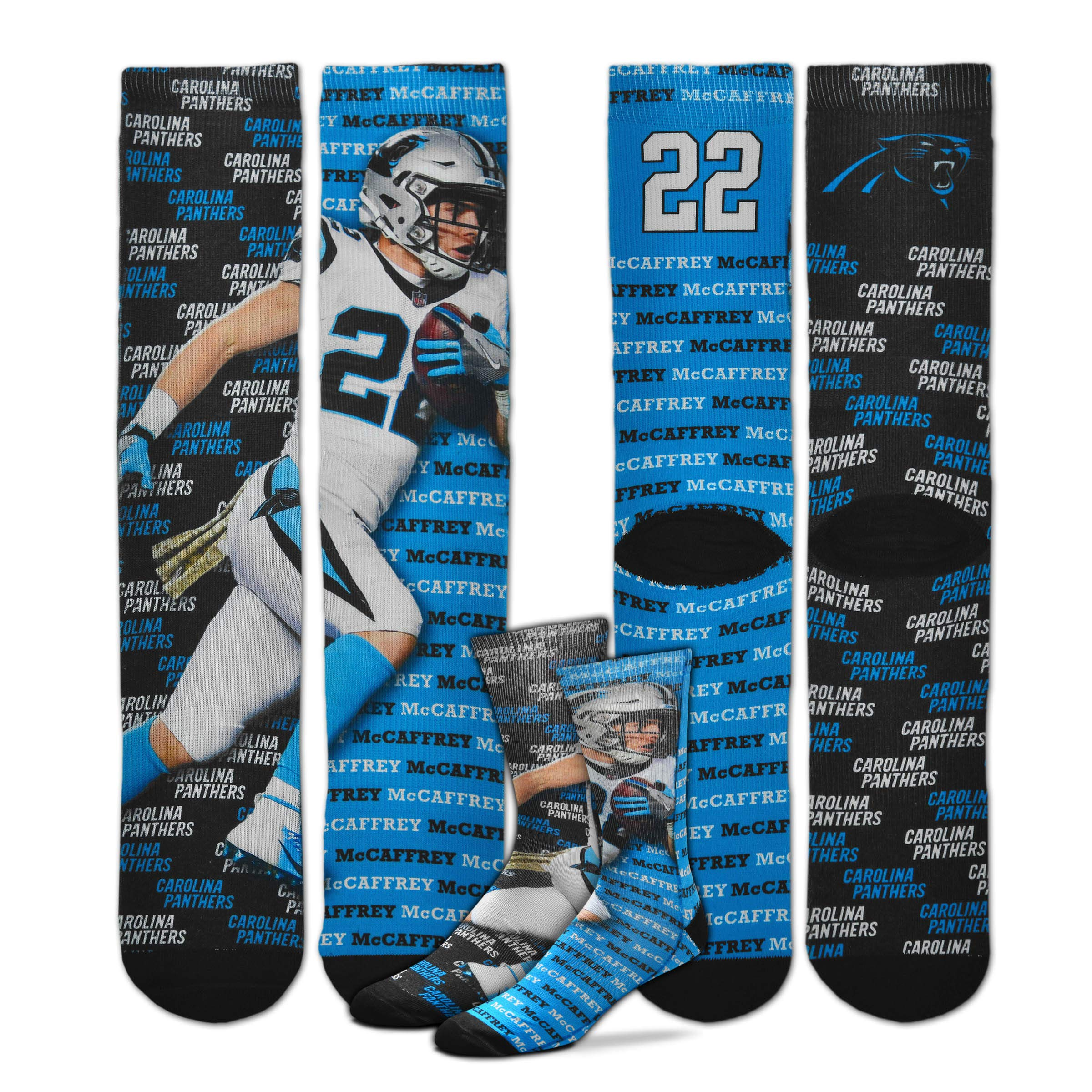 For Bare Feet - Say My Name NFL Player Sublimation Men's Crew Socks (Christian MCCAFFREY, Large (10-13))