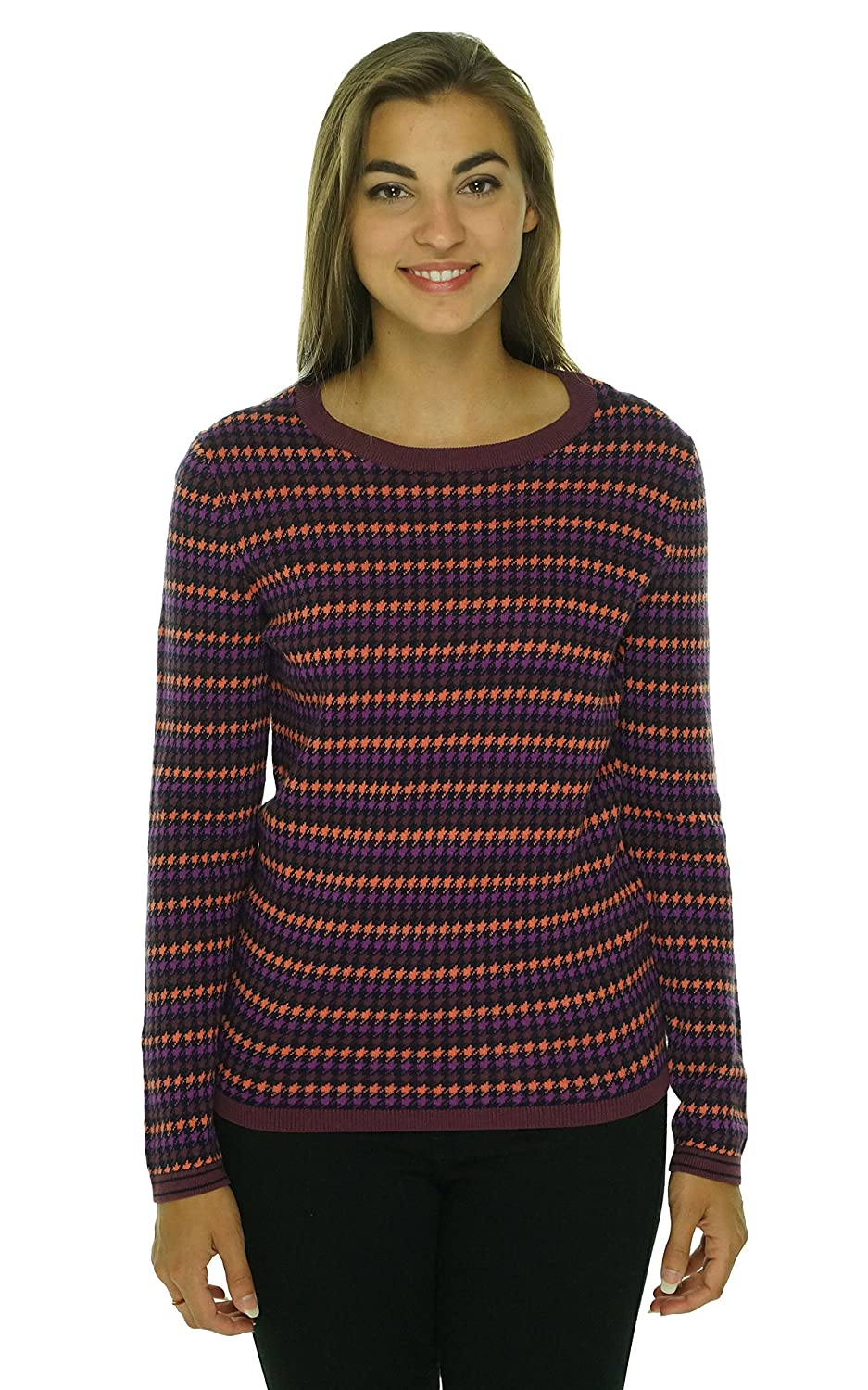 Tommy Hilfiger Womens Houndstooth Crew Pullover Sweater