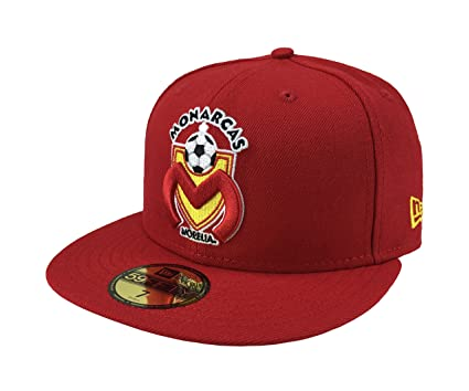 NEW ERA 59Fifty Hat Monarcas Morelia Michoacan Liga Mexicana Soccer Red Fitted Cap (6 7