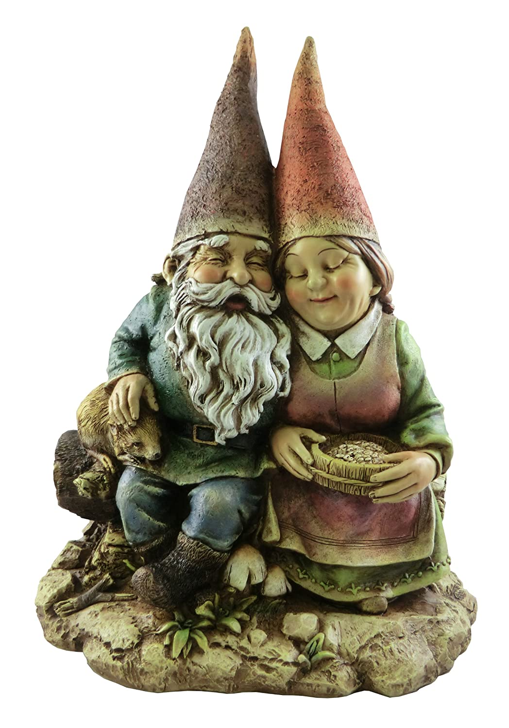 Napco 12-Inch Tall Sitting Gnome Couple