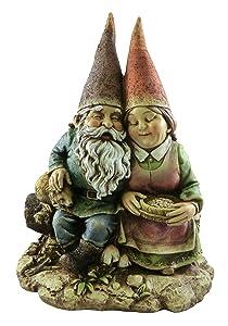 Napco 12-Inch Tall Sitting Gnome Couple