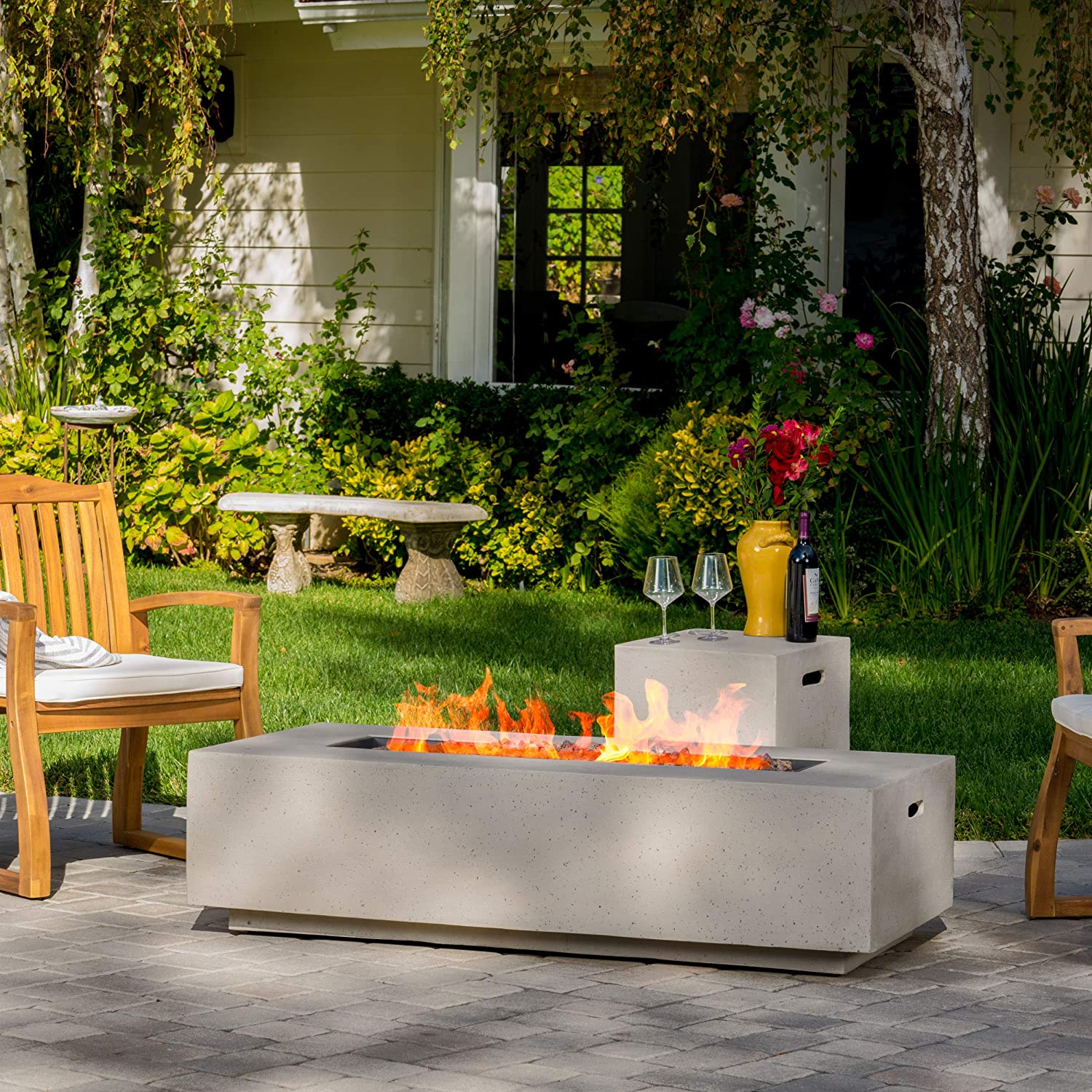 Christopher Knight Home 296666 Jaxon Outdoor Fire Table with Lava Rocks Tank Holder Light Grey , White