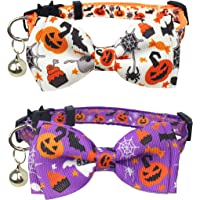 Pohshido 2 Pack Halloween Cat Collar with Movable Bow Tie, Pumpkin Jack-O-Lantern Bat Spider Pattern, Holiday Kitty…