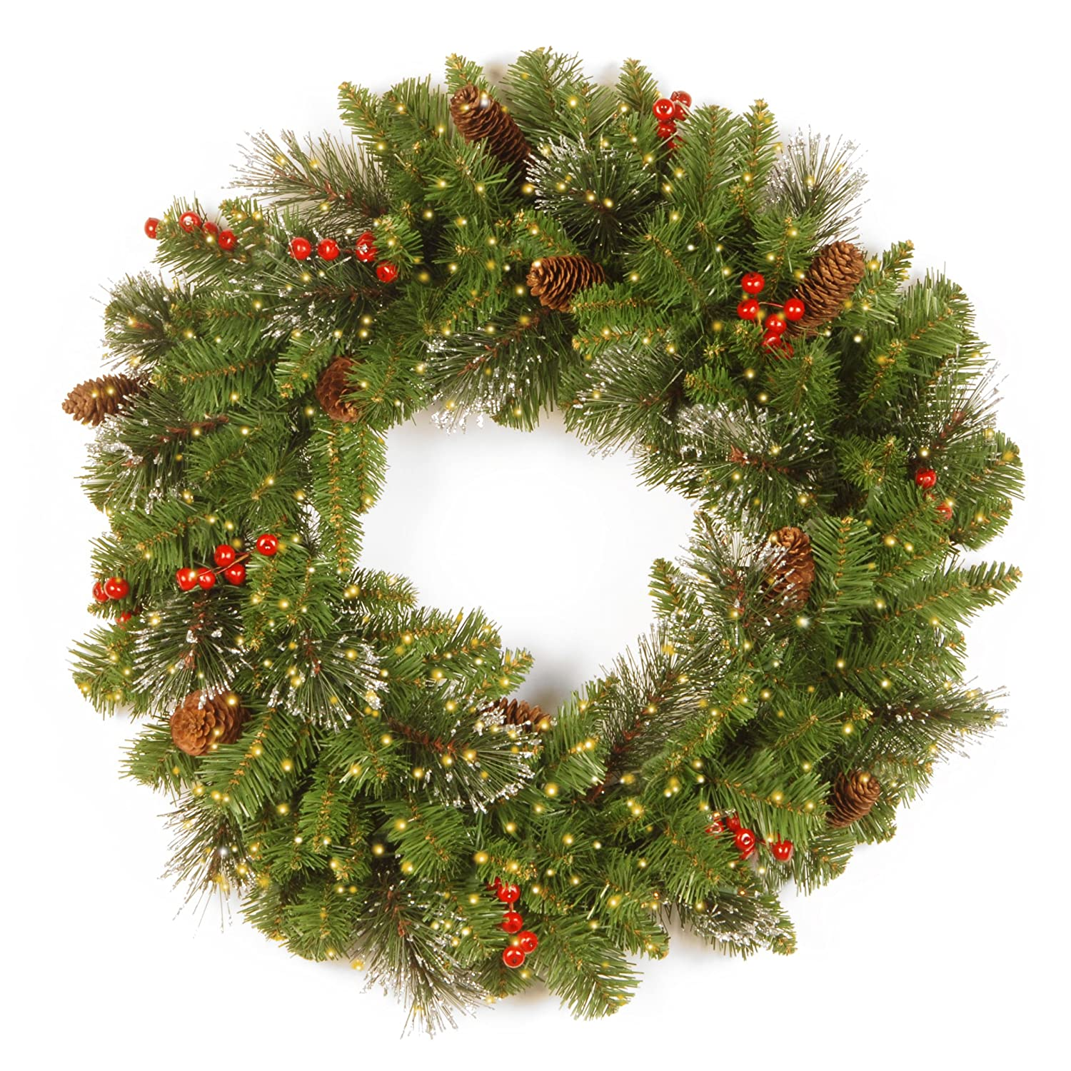 National Tree 24 Inch Crestwood Spruce Wreath with Cones, Glitter, Red Berries, Silver Bristle and 250 Battery Operated Infinity Lights (CW7-383Y-24W-B)