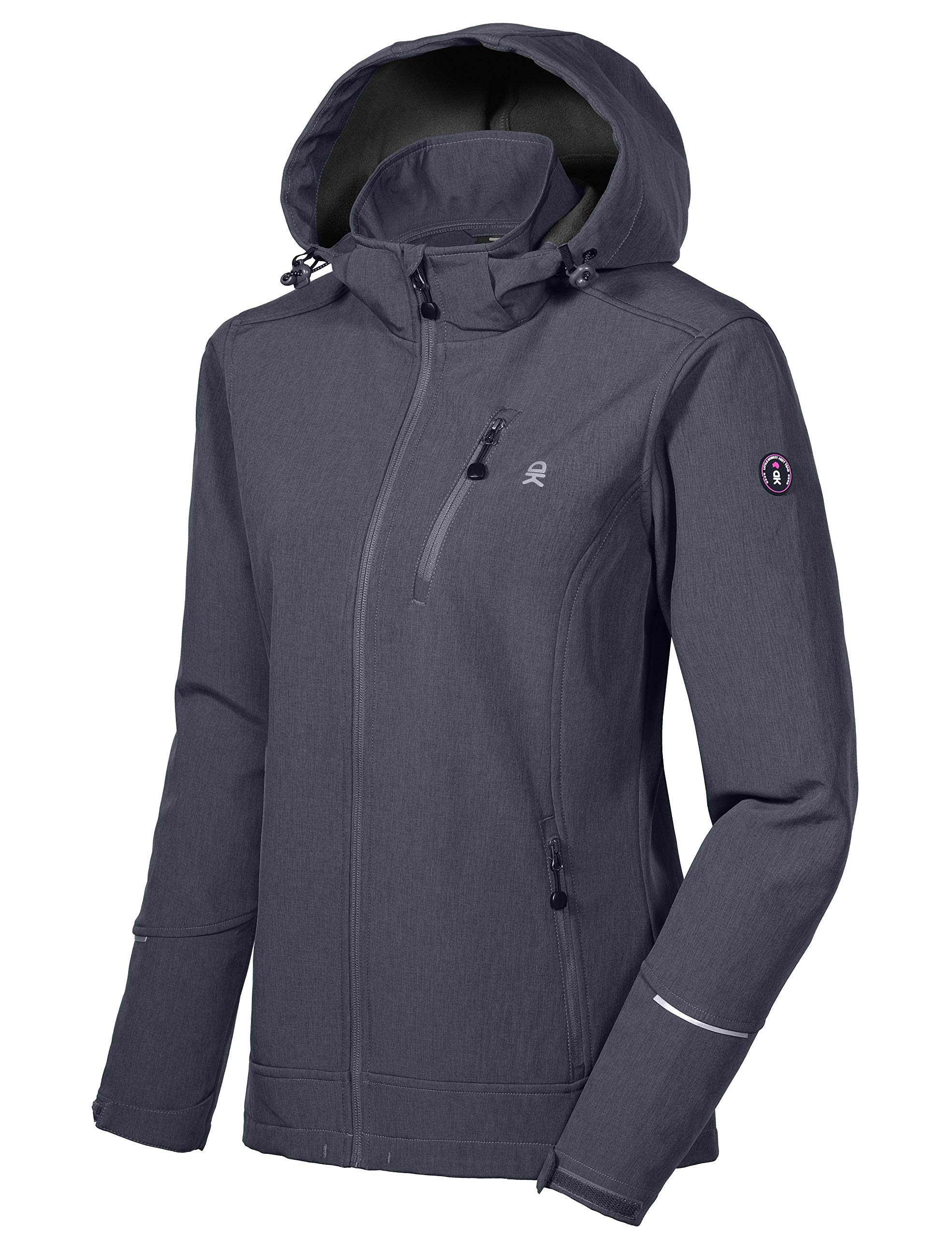 Little Donkey Andy Women's Softshell Jacket Ski Jacket with Removable Hood, Fleece Lined and Water Repellent Black Heather Size S by Little Donkey Andy