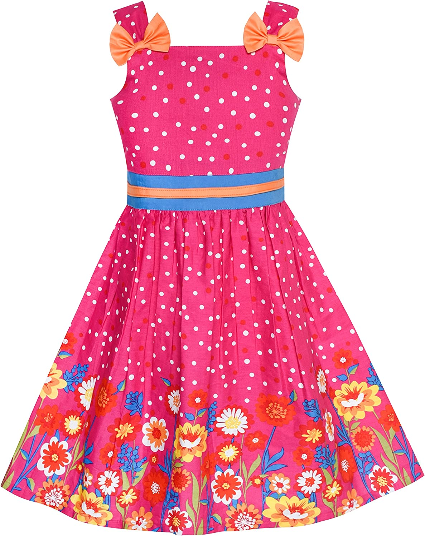 Sunny Fashion Girls Dress Ladybug Polka Dot Bow Tie