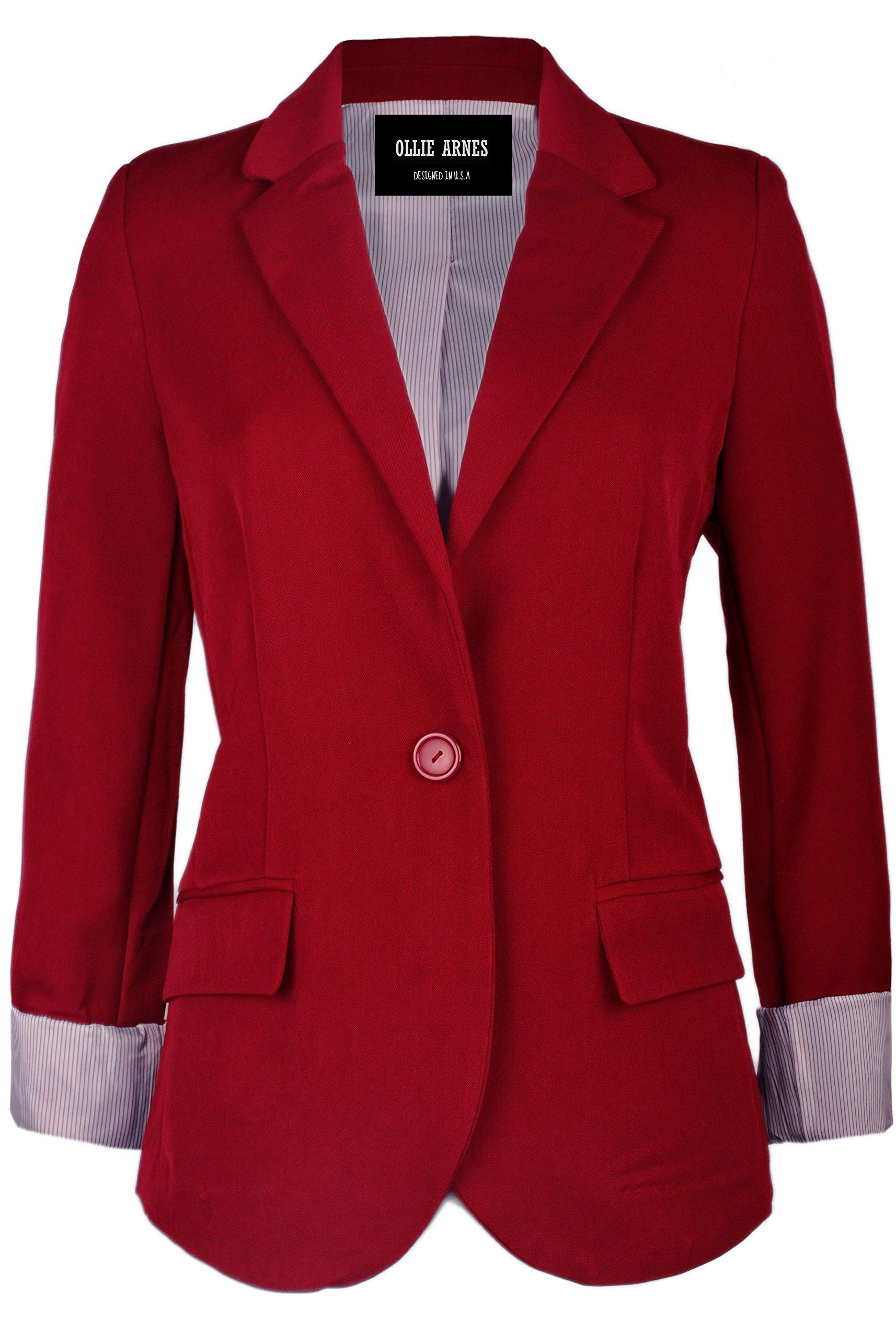 Ollie Arnes Women's Chic Trendy Professional Attire Long Sleeve Blazer Jacket 51_Red XL