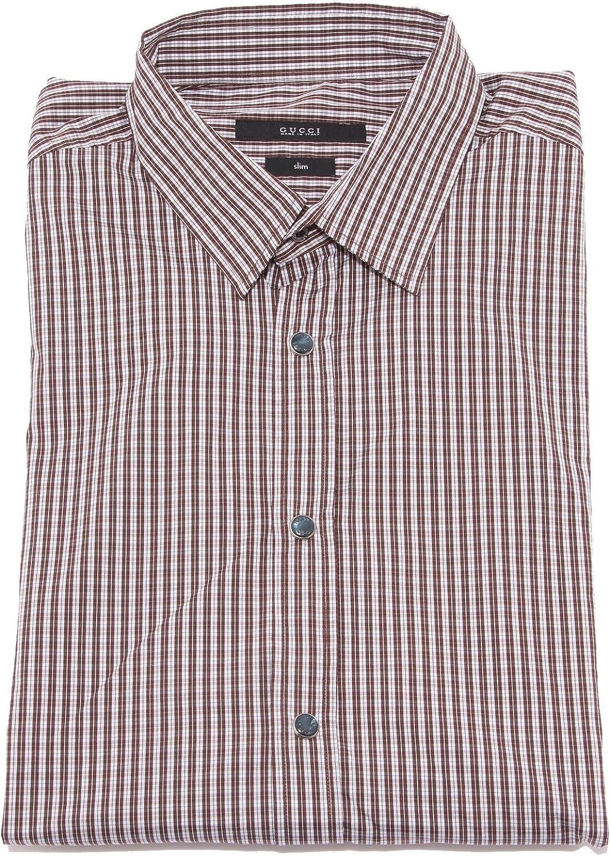 36447 camicia uomo GUCCI SLIM bianco marrone shirt men long sleeve