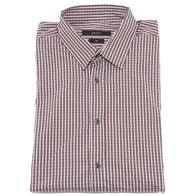 36447 camicia uomo GUCCI SLIM bianco marrone shirt men long sleeve ...