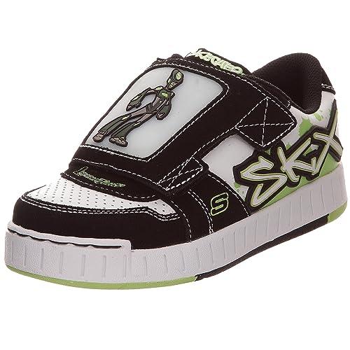 Skechers Luminators - Nollies - Meteorite - Zapatillas de deporte de cuero para niños, color blanco, talla 32