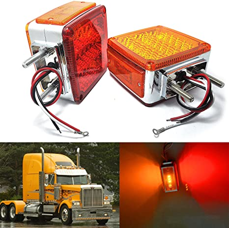 One Pair of 7 Amber LED Transit Bus Stop Tail Turn Lights