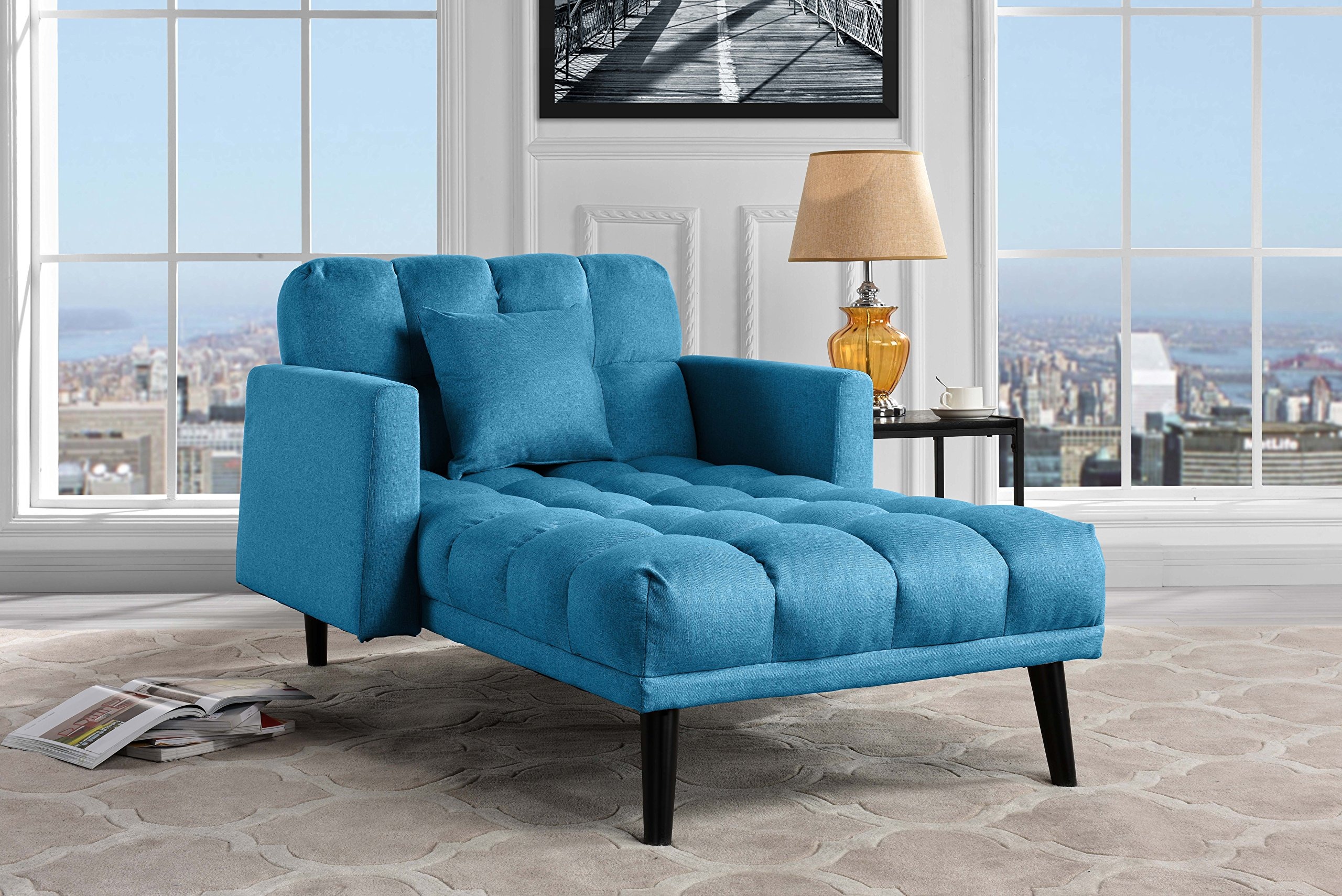Sofamania Modern Linen Fabric Recliner Sleeper Chaise Lounge - Futon Sleeper Single Seater with Nailhead Trim (Sky Blue) by Sofamania