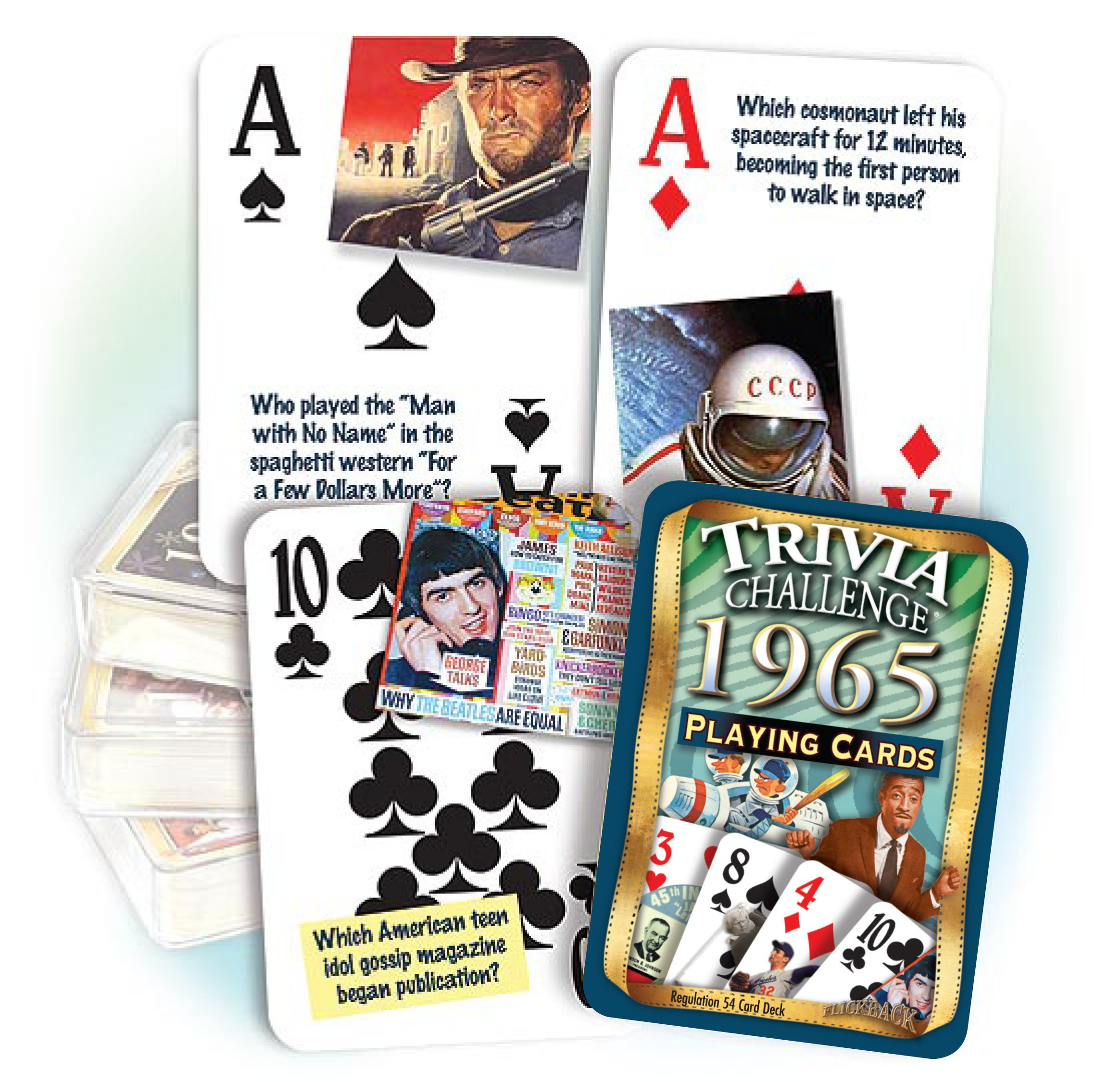 1965 Flickback Trivia Playing Cards: 52nd Birthday Gift or 52nd Anniversary Gift